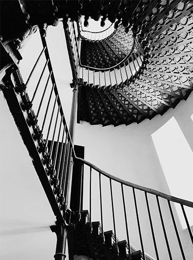 Even the office stairs can serve as a black and white canvas